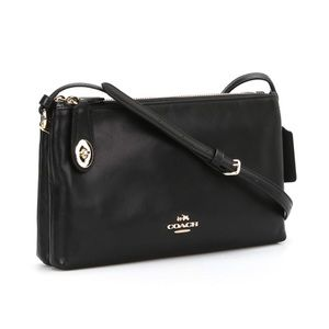 Coach smooth black leather turnlock crossbody bag